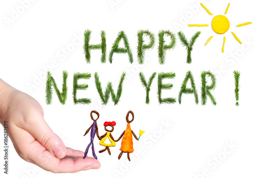 happy new year greetings happy family walking under the yellow bright sun shining objects