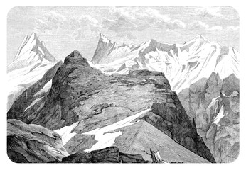 Vintage engraving of the Finsteraarhorn glacier in the Bernese Alps, the highest mountain of Switzerland
