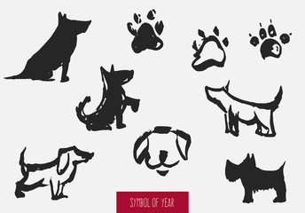 Set of dog element silhouettes isolated on white background. Concept chinese zodiac symbol of 2018 year. Sketch traditional vector illustration.