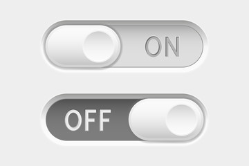 On and Off long oval icons. Toggle switch interface buttons. Gray elements