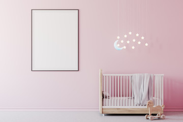 Baby girl s room, cradle and poster