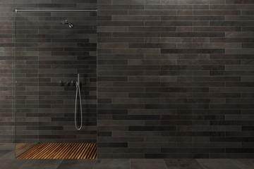 Black wooden bathroom, shower