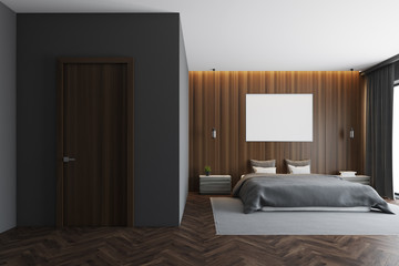 Dark wooden bedroom interior, poster