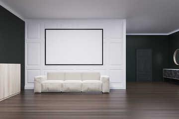 Black and white living room, poster and sofa