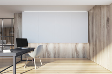 Wooden CEO office interior, white