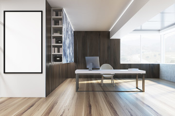 Dark wooden CEO office interior, poster