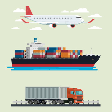 Cargo logistics truck, container ship and plane travel. illustration vector