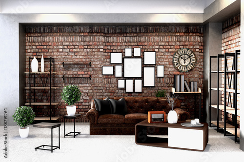 Contemporary loft design with mid century modern interiors