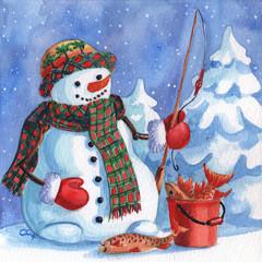 Snowman Fisherman
