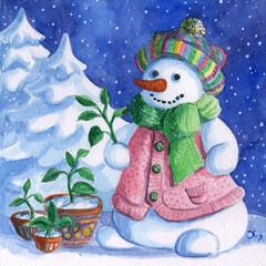Snowman gardener