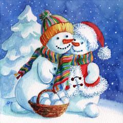 A married couple of loving snowmen