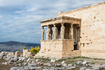 Figures of the Caryatid Porch of the Erechtheion on the Acropolis in Athens, Greece