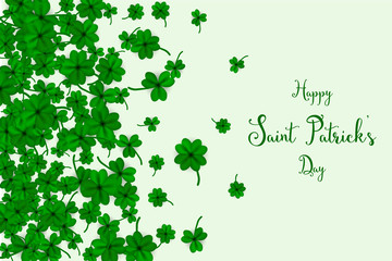 Happy Saint Partick's Day with falling shamrocks. St.Patricks vector card with clovers in green color. Vector illustration.