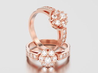 3D illustration two rose gold decorative flower diamond rings