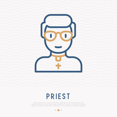 Priest in glasses thin line icon. Modern vector illustration of religious person.