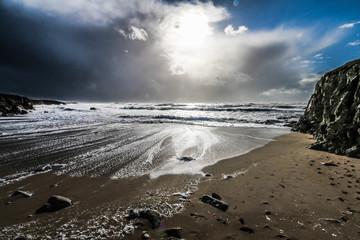 photo d'une plage de quiberon en pleine tempete