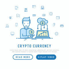 Cryptocurrency concept with thin line icons set: mining farm, bitcoin, exchange, wallet, online banking, coin, payment. Modern vector illustration, web page template.