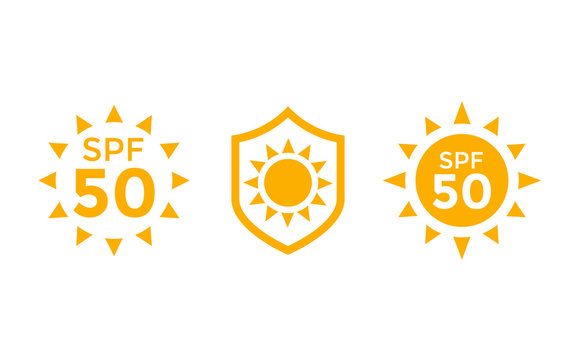 UV, sun protection, SPF 50 vector icons on white