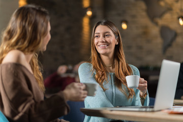 Young cheerful women talking to each other at cafe