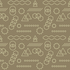 Abstract mechanism funny shapes seamless pattern. For print, fashion design, wrapping, wallpaper