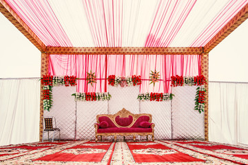 Empty wedding stage in Indian marriage