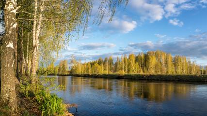 весенний пейзаж на Уральской реке с березами на берегу, Россия, Урал, май