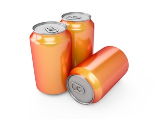 3d rendering of three orange aluminum cans over white background