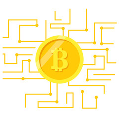 Bitcoin abstract background. Coin bitcoin network. Crypto currency template. Golden coin isolated on background. Vector illustration flat design. Blockchain cryptocurrency.