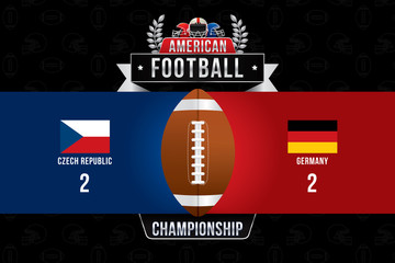 Vector of American football  with team competition and scoreboard background.