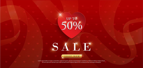 Valentines day sale background with red heart pattern. graphic for wallpaper,invitation, posters, card, banners. vector illustrator