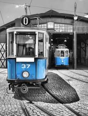 old vintage blue tram