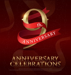 9th years anniversary celebration golden logo with red ribbon on red background. vector illustrator