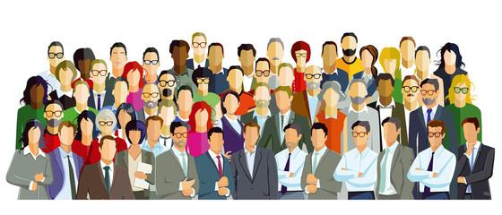 Gruppenbild mit diversen Personen, Illustration