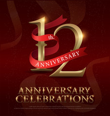 12th years anniversary celebration golden logo with red ribbon on red background. vector illustrator