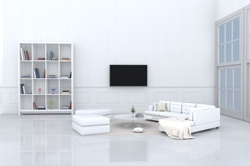 White living room decorated with white sofa,tree in glass vase, cream pillows, bookcase, chair, book, television, window, Cream carpet White cement wall it is pattern, white cement floor. 3d rendering