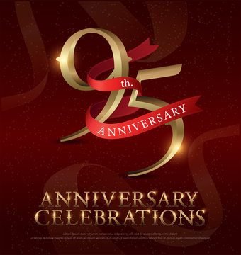 95th years anniversary celebration golden logo with red ribbon on red background. vector illustrator