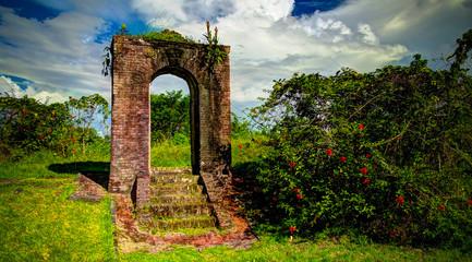 Ruins of Kai-Kover-All fort on the Kykoveral island in Essequibo delta,Cuyuni-Mazaruni in Guyana