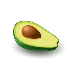 Isolated realistic colored half slice of juicy avocado with pit with shadow on white background. Side view.