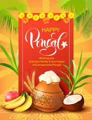 Poster design for Indian harvest festival Pongal (Makar Sankranti). Vector illustration.