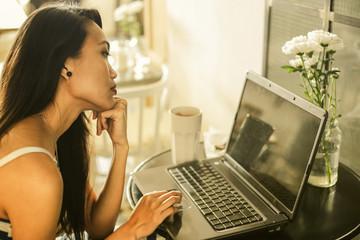 Beautiful girl using a laptop