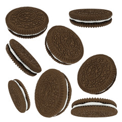 Printed roller blinds Cookies Chocolate sandwich cookies isolated on white background