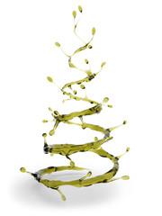 Olive oil splash in shape of Christmas tree