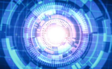 abstract technology circles on blue color background