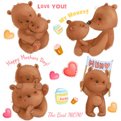 Cute mothers day isolated clipart with funny bears mom and her cubs, hearts, honey, cakes. It's about love. Use for cardmaking, greeting cards, print, textile.