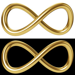 Gold infinity loop on white and black background