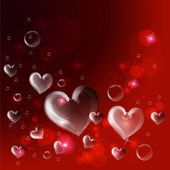 Red heart bubbles, valentines card background