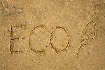 Word ECO frawn on sandy yellow beach. Concept of eco safe lifestyle