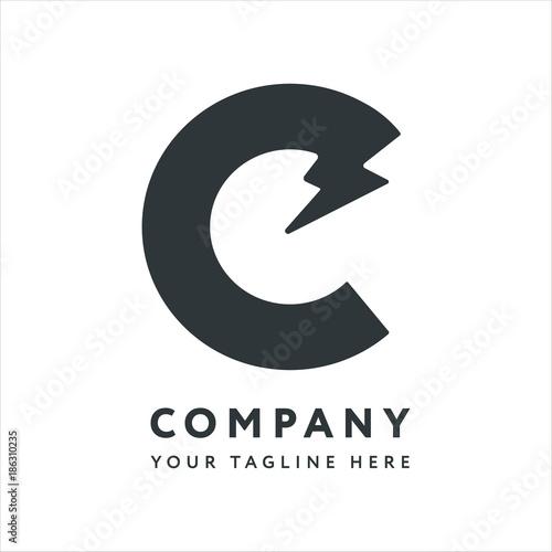 Letter C Logo Design Emblem Template Creative Energy Electricity Concept Electronics Lightning Bolt