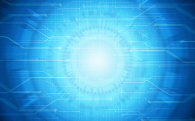 Abstract technology circuit board pattern and circles on blue color background