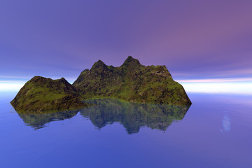Island, a tropical landscape, grass on the ground and reflection in the sea.